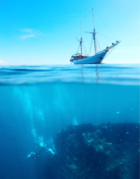 Фотообои море дайвинг корабль (sea-0000290)