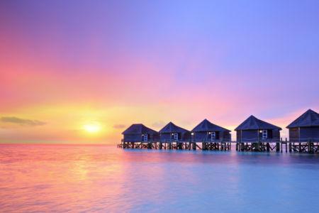 Фотообои море берег домики закат (sea-0000308)