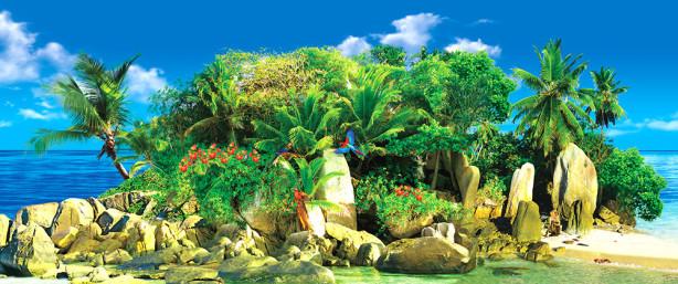 Фотообои экзотический остров с попугаями (sea_0000127)