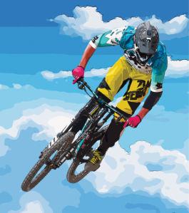 Фотообои полет на велосипеде (sport-0000164)