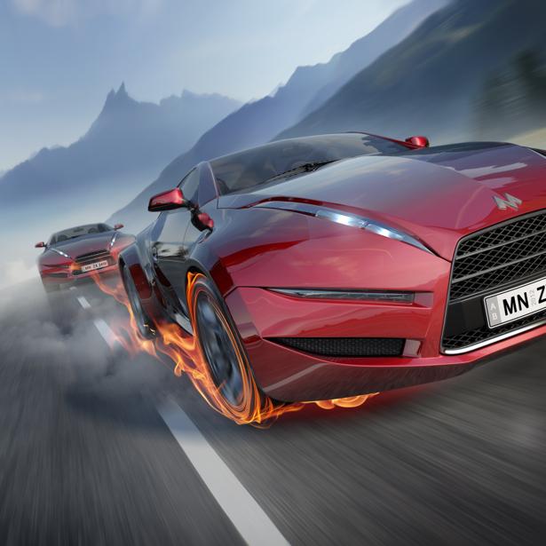 Фотообои гоночное авто с горящими покрышками (transport-0000012)
