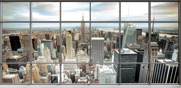 Фотообои вид из окна на город (win-7)