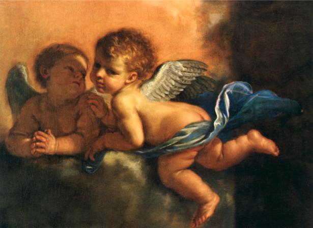 Обои фреска целующиеся ангелы в облаках (angel-00011)