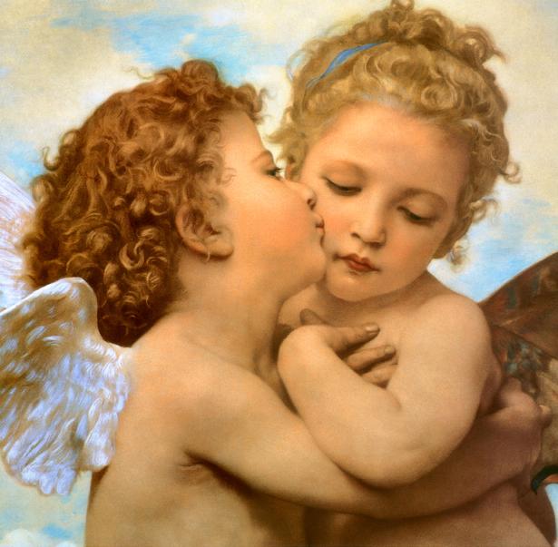 Фотообои амур Первый поцелуй фреска (angel-00018)