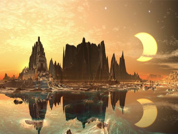 Фотообои фантастический город на воде (fantasy-0000068)