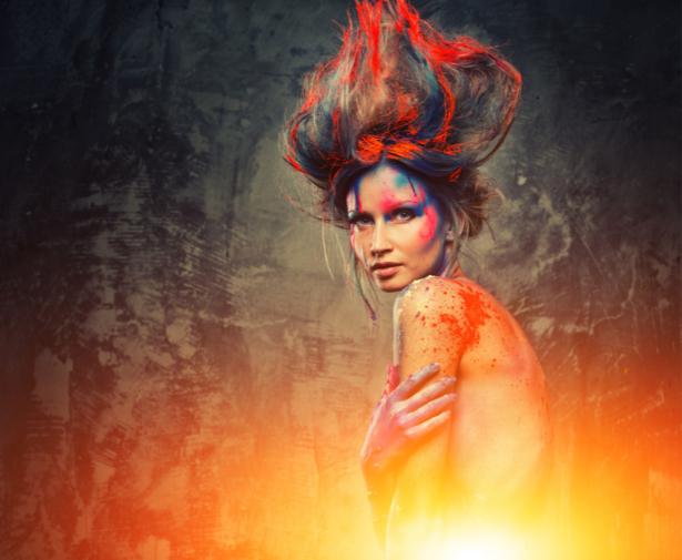 Фотообои девушка в краске фотография (glamour-0000256)