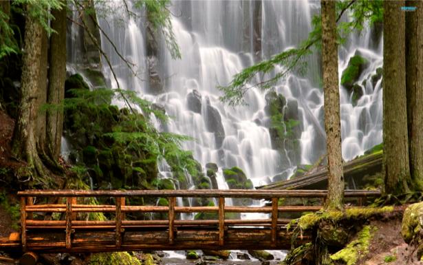 Фотообои горный водопад с мостом (nature-00281)