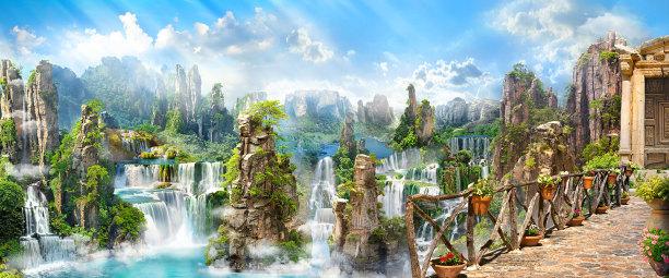 Фотообои композиция с водопадами (printmaking-0000120)