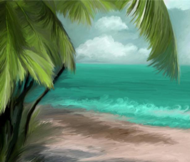 Фотообои море пальмы живопись (sea-0000120)