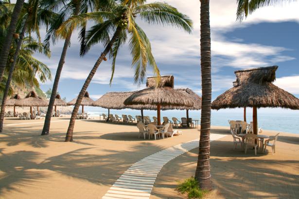 Фотообои море пляж с пальмами (sea-0000207)