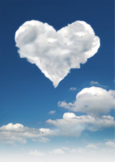 Фотообои небо с сердечком из облаков (sky-0000042)