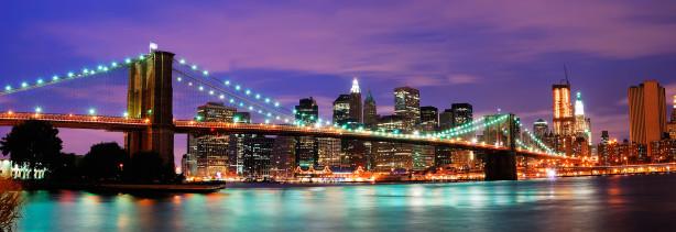 Фотообои бруклинский мост и ночной нью йорк (city-0000242)