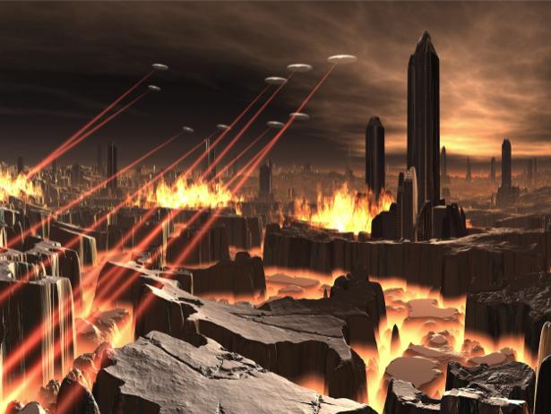 Фотообои атака на город будующего (fantasy-0000067)