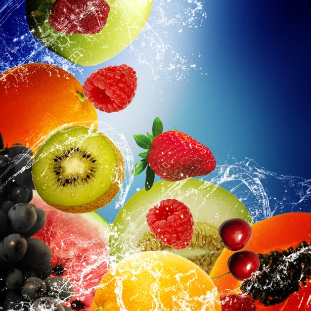Фотообои в кухню фрукты в брызгах (food-0000243)