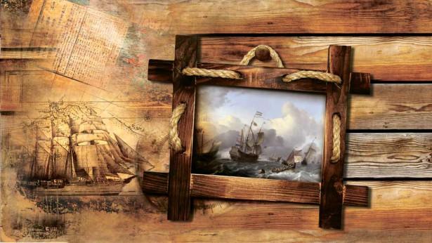 Фотообои корабль на стене (map192)