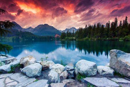 Фотообои горы голубое озеро (nature-0000682)