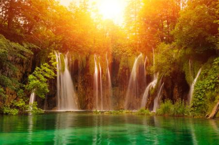 Фотообои водопад, лес и озеро закат (nature-0000843)