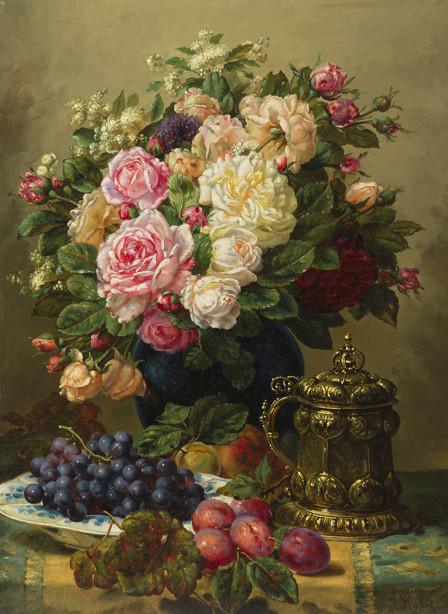 Картина букет роз и фрукты на столе (pf-134)
