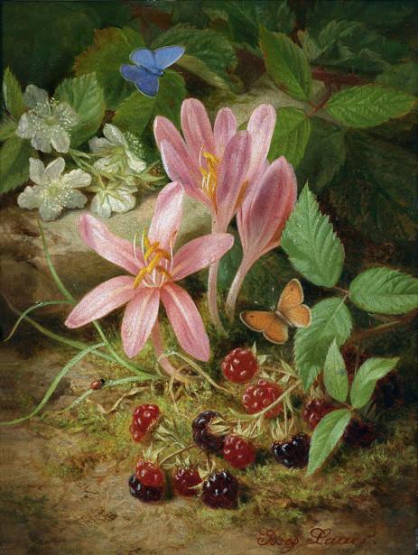 Картина осенние цветы с ежевикой (pf-143)