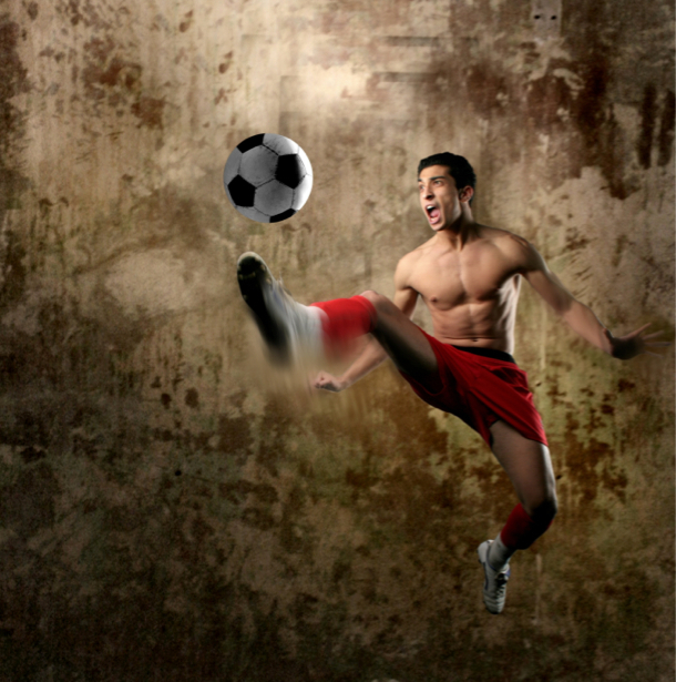 Фотообои футболист с мячом (sport-0000047)