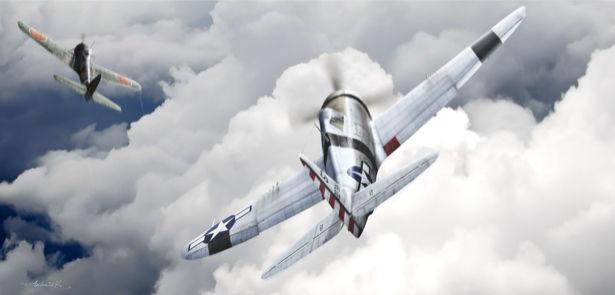 Фотообои винтовые истребители в небе (transport-0000076)