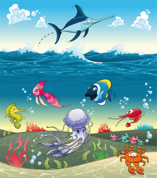 Фотообои для ванны рисованные рыбы (underwater-world-00182)