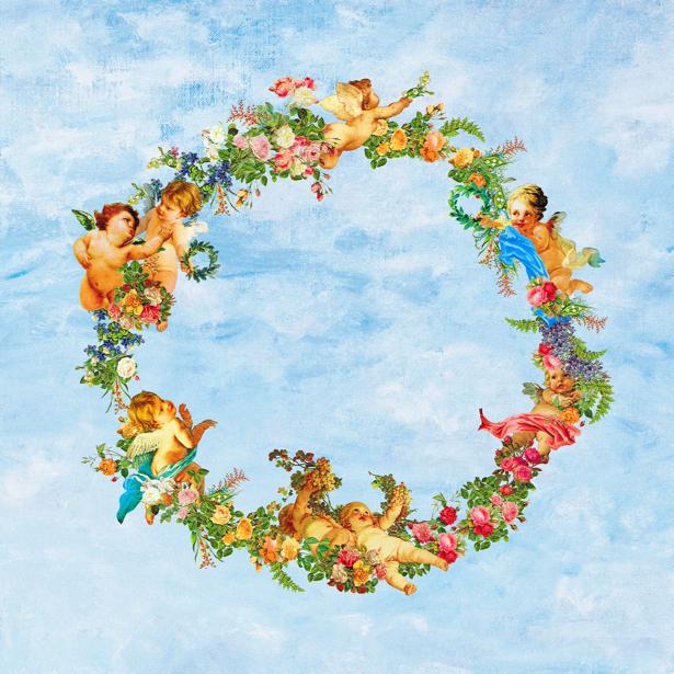 Фреска ангелочки амуры и цветы фото обои (angel-00014)