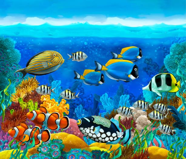 Фотошторы морские водоросли с рыбками (bathroom-curtain-00010)