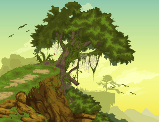 Фотообои детские - Дерево на горе (children-0000239)