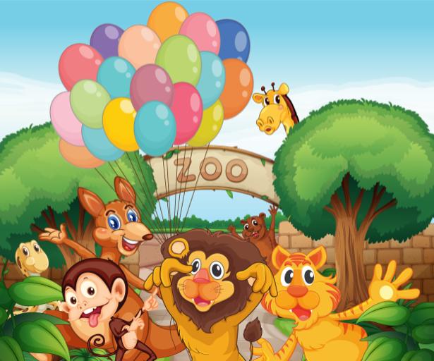 Животные зоопарка фотообои детские (children-0000261)