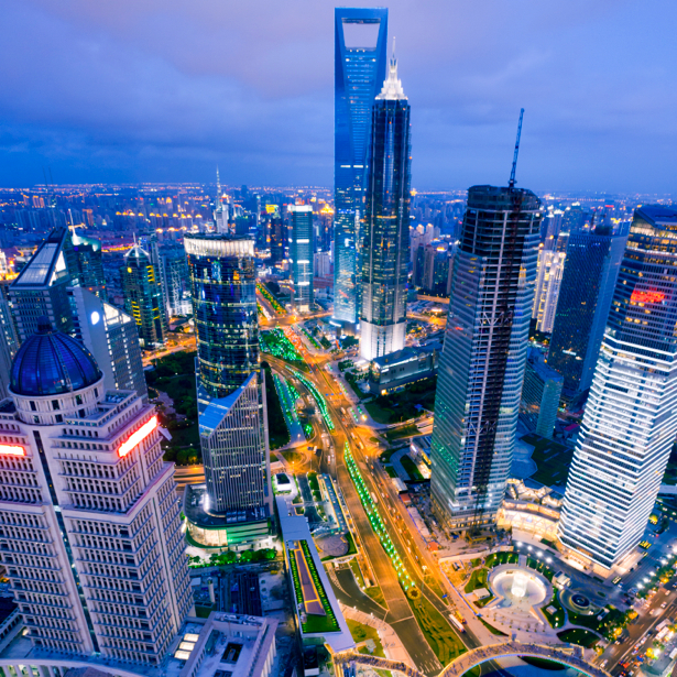 Фотообои Ночной мегаполис, Шанхай, Китай (city-0000028)