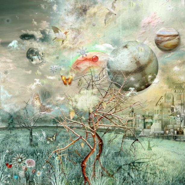 Фотообои деревья и шары коллаж (fantasy-0000164)