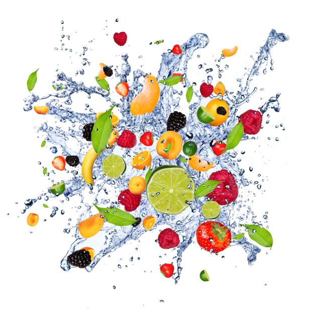 Фотообои кухня фрукты в брызгах воды (food-0000129)