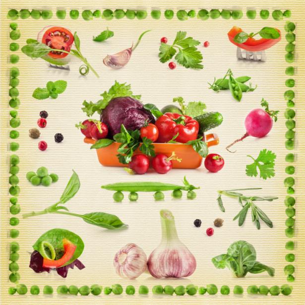 Фотообои на кухню коллаж из овощей (food-0000263)
