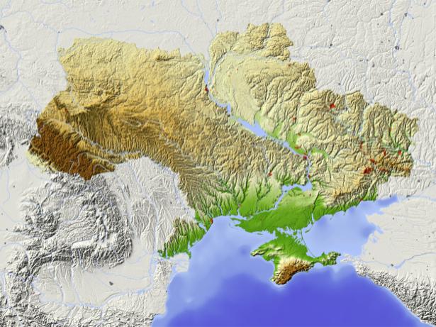 Фотообои карта Украины ланшафт (map-0000195)