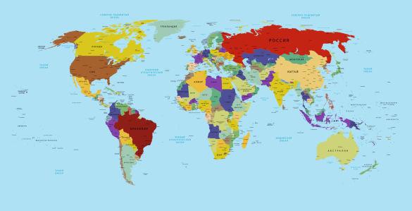 Фотообои Карта мира на русском языке (map-0000232)