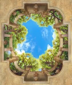 Фотообои для потолка арки и колонны (overhead-0015)