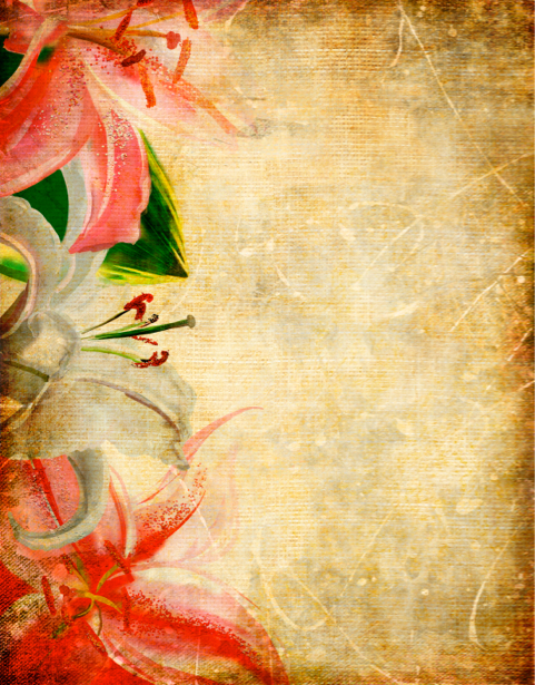 Фото обои цветы фон (retro-vintage-0000055)