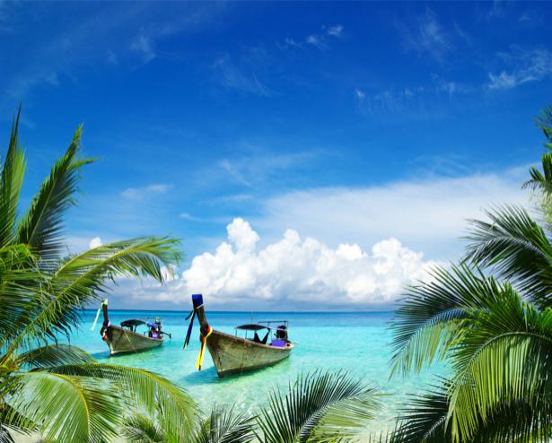 Фотообои море лодка остров пальмы (sea-0000316)