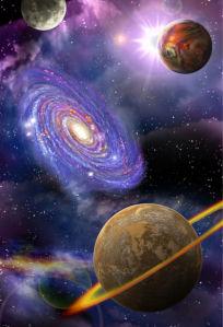 Фотообои космический пейзаж с планетами (space-0000069)