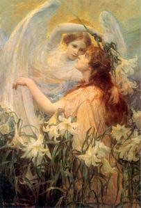 Картина фреска белый ангел феи (angel-00007)