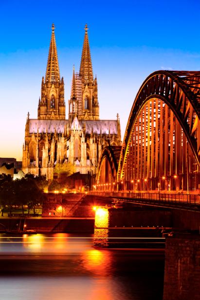 Фотообои Кельнский собор вечером, мост (city-0000268)