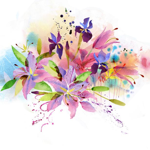 Цветочные обои Акварельные цветы (flowers-0000705)
