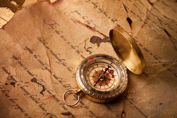 Фотообои свиток, старинный и компас (map-0000167)