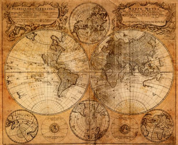 Фотообои старая карта географическая (map-0000190)