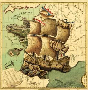 Фотообои старая карта и корабль (map-0000207)