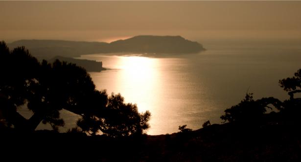 Фотообои сепия горы море (nature-00424)