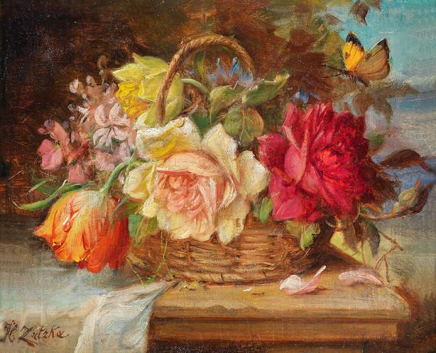 Картина корзина с цветами и бабочка (pf-124)
