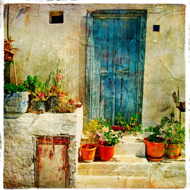 Фотообои цветы в горшках на лестнице (retro-vintage-0000098)