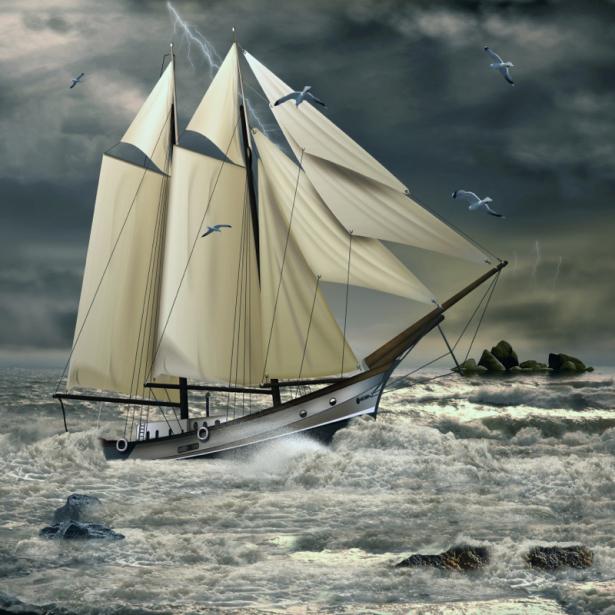 Фотообои Парусник в шторм (transport-0000217)